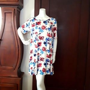 PLUS SIZE Betsy Red Couture Soft Floral Dress